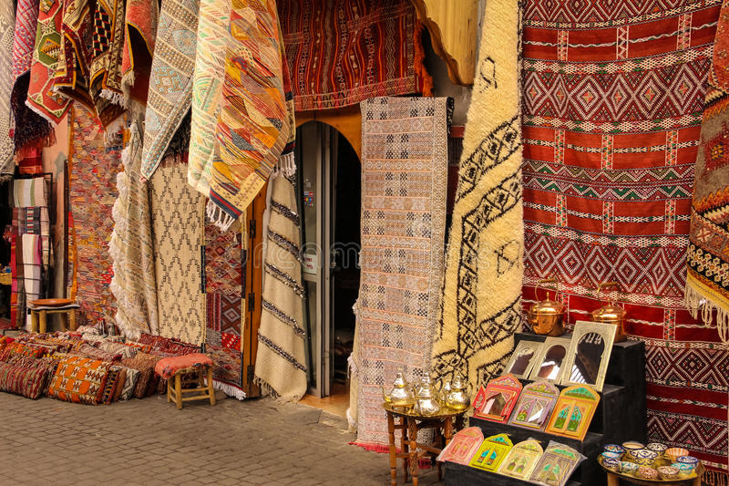 Handmade rugs. Marrakesh. Morocco. Handmade rugs in the souk. Marrakesh. Morocco royalty free stock photography