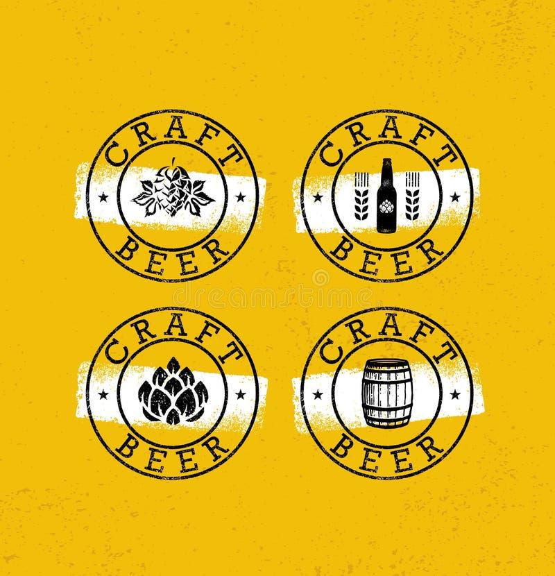 Handmade rzemiosła Piwni Szorstcy znaczki Ustawiający Napoju Lokalny Kreatywnie Wektorowy pojęcie Browaru projekta elementy Na Gr ilustracja wektor