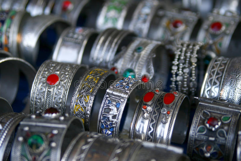 Handmade silver bracelets from Morocco stock images