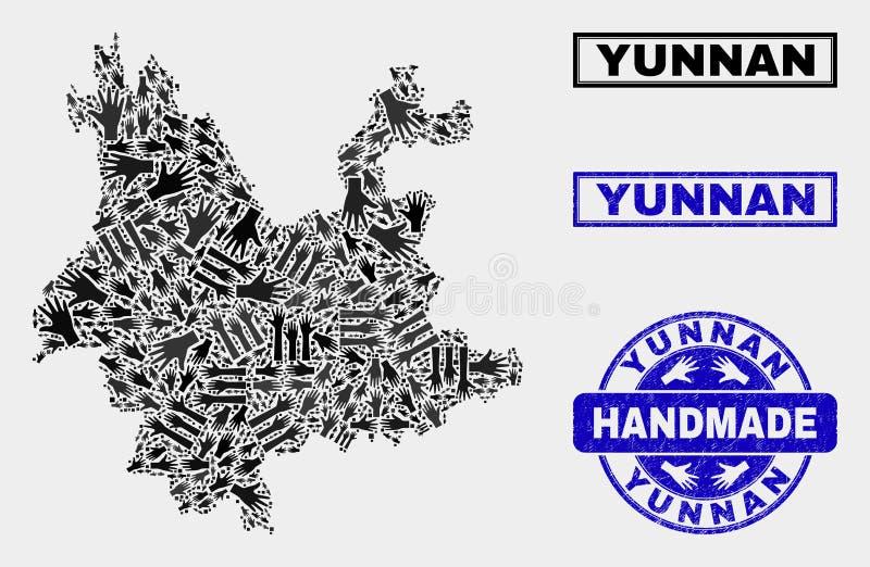 Handmade skład Yunnan prowincji mapa i Drapająca foka ilustracja wektor