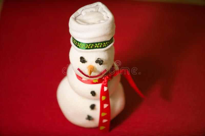 Handmade snowman doll stock photos