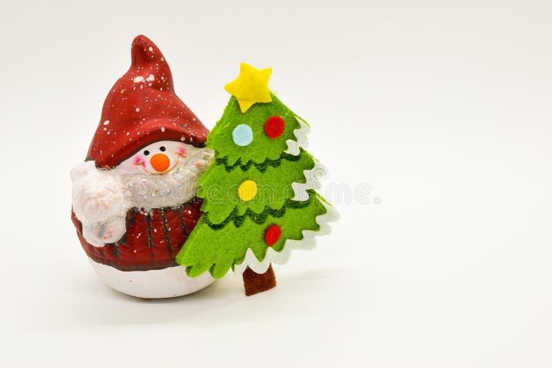 Handmade snowman figurine isolated on white background. Christmas decoration. royalty free stock photos