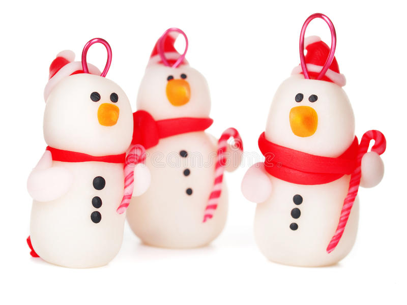 Handmade snowmen, christmas decoration royalty free stock image