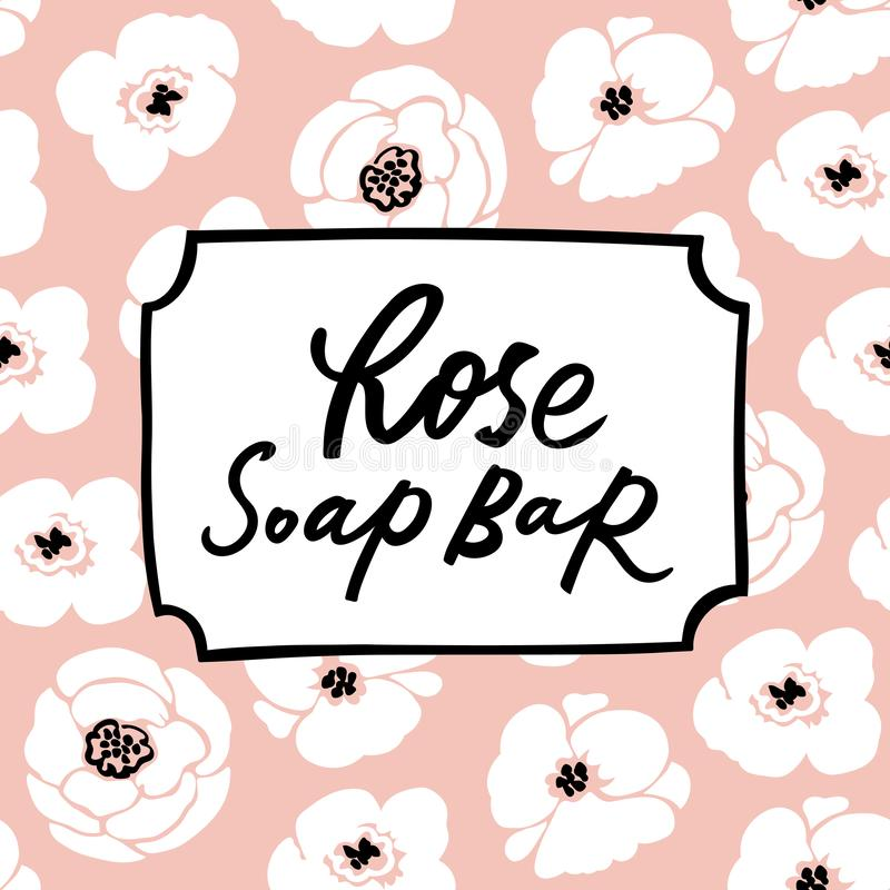 Handmade soap bar label with handdrawn lettering and floral seamless pattern royalty free illustration