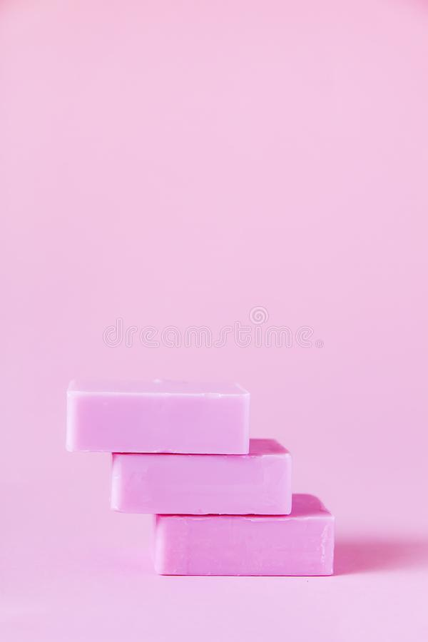 Soap bars on soft pink background. Handmade soap bars on soft pink background stock images