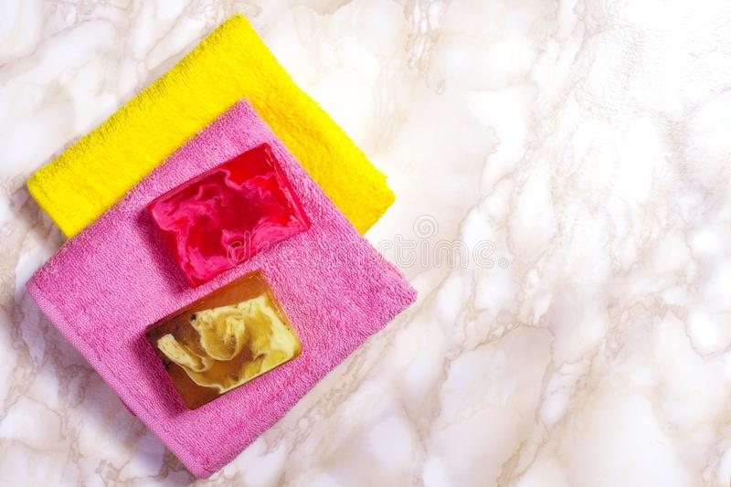 Handmade Soap With Bath And Spa Accessories. Stock Image - Image of ...