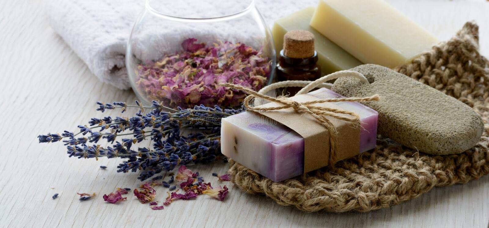Handmade Soap With Bath And Spa Accessories On White Wood Background ...