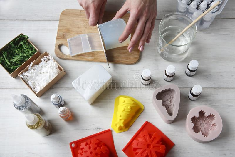 Handmade soap as a gift stock photos