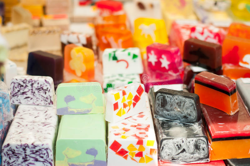 Handmade soap. Colorful handmade soap in rows and piles royalty free stock photography