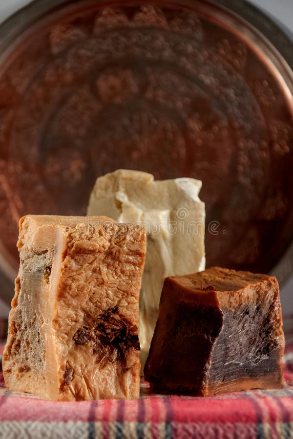 Handmade soap with the cooper plate in turkish hamam. traditional spa.  stock images