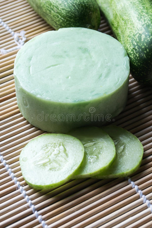 Handmade soap from cucumber royalty free stock image