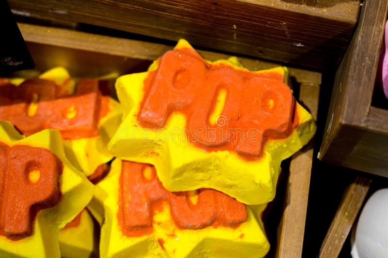 Handmade soap in the form of ice cream, cookies, other shapes stock images