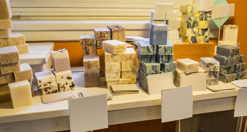 Handmade soap. Bars display in a souvenir shop royalty free stock image