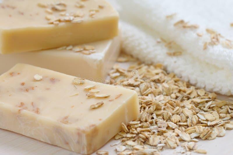 Handmade soap with oat scrub and milk stock photos