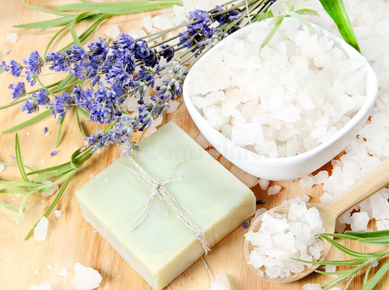 Handmade Soap with Salt and Lavender stock photography