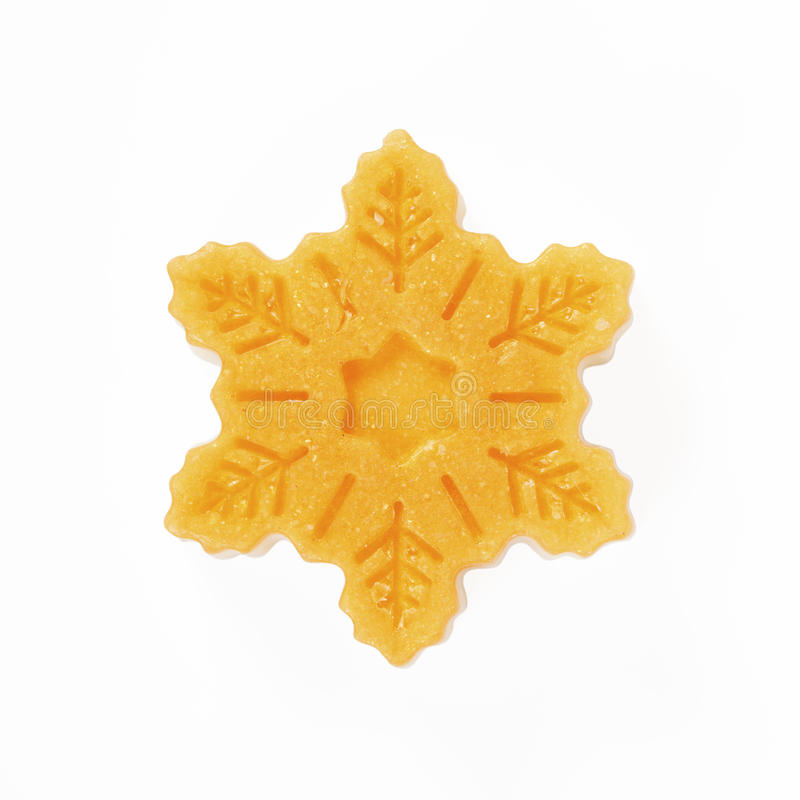 Handmade soap in the snowflake form stock image