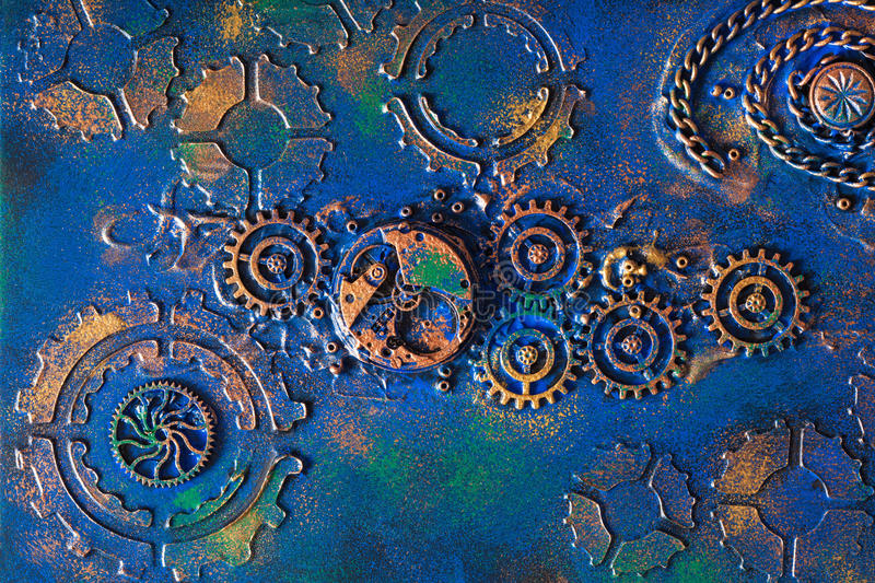 Handmade steampunk background mechanical cogs wheels clockwork.  royalty free stock photography