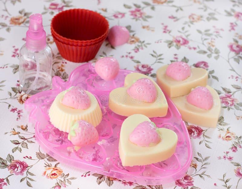 Handmade Strawberry Soap Stock Images
