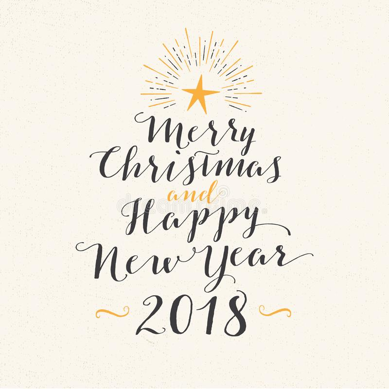 Handmade style greeting card - Merry Christmas and Happy New Year 2018. royalty free illustration