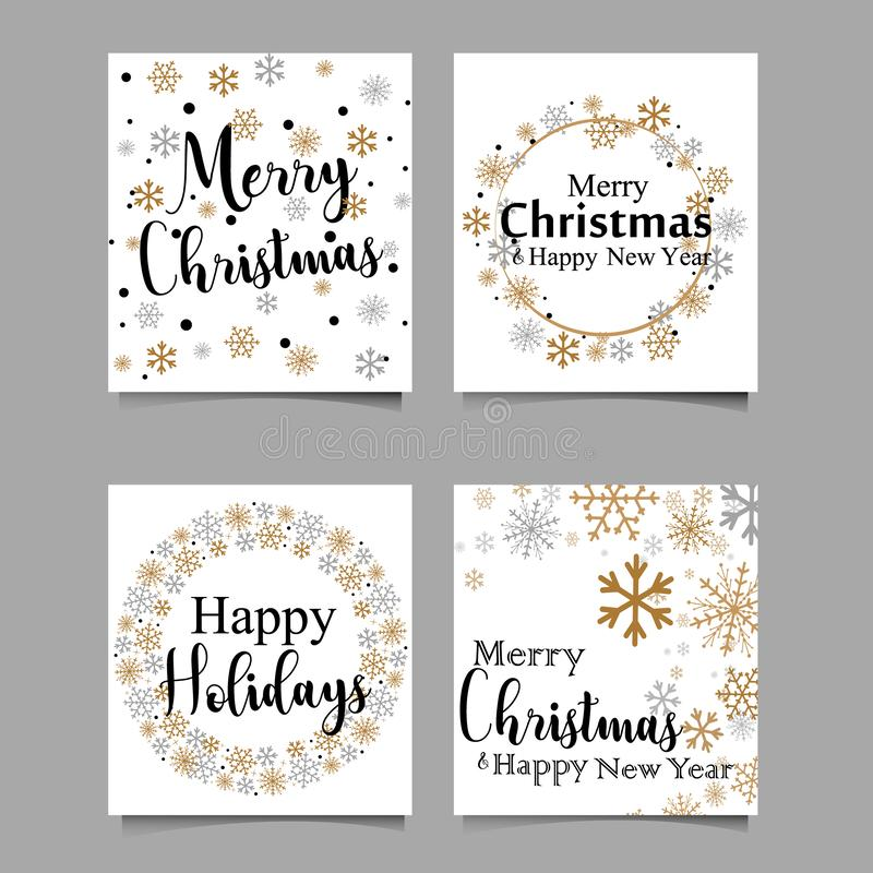 Handmade style greeting card - Merry Christmas and Happy New Year 2018 - Vector EPS10. vector illustration royalty free illustration