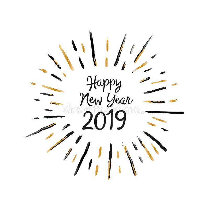 Handmade stylowa boże narodzenie kartka z pozdrowieniami - Szczęśliwy nowy rok 2019 Dla druków, sieci wiadomości, kartki z pozdro ilustracja wektor