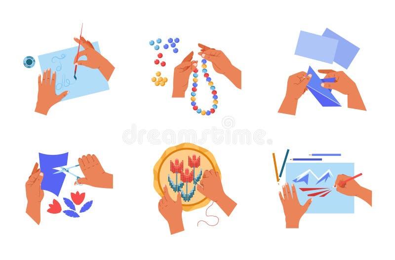 Handmade sztuki lub rzemiosła ręk ludzki hobby odizolowywał ikony ilustracji