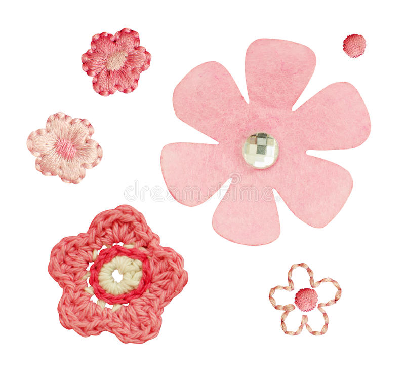 Handmade szydełkowi, upiększeni i filc kwiaty, fotografia royalty free