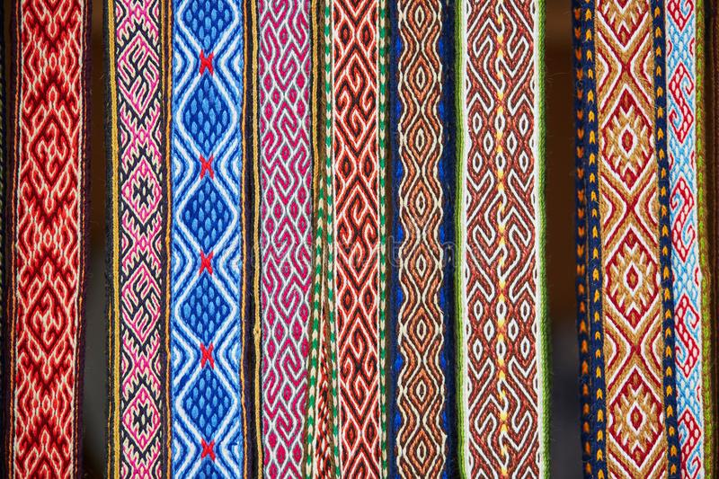 Handmade textile bookmarks sold on Easter fair in Vilnius. Lithuania. Traditional Lithuanian spring fair stock image