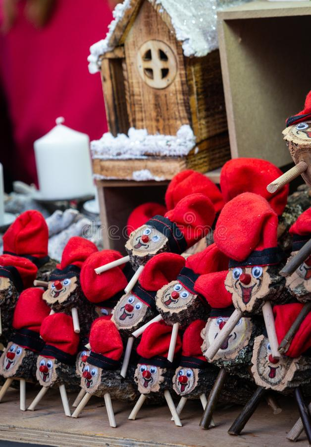 Handmade tio de nadal, a typical christmas character of catalonia, spain, on sale in a christmas market. Some handmade tio de nadal, a typical christmas royalty free stock image