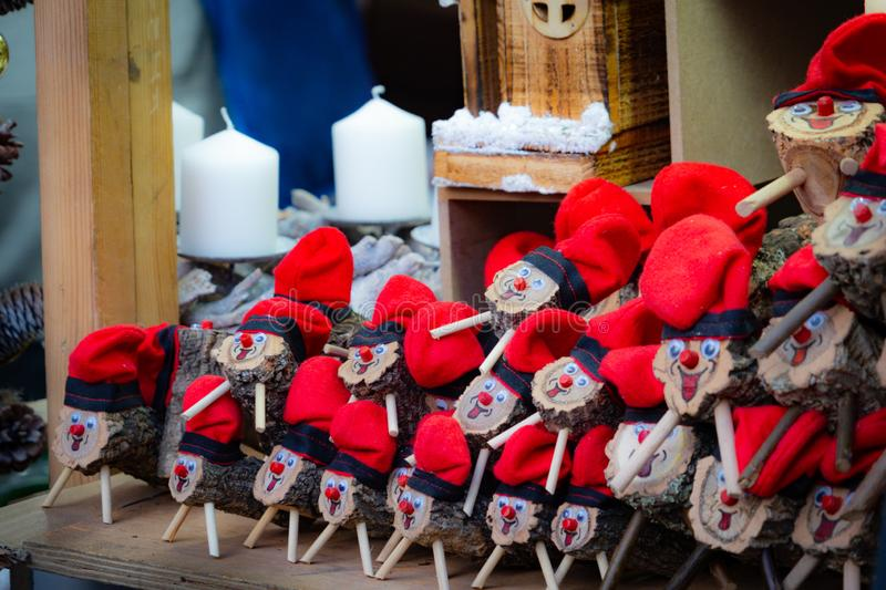 Handmade tio de nadal, a typical christmas character of catalonia, spain, on sale in a christmas market. Some handmade tio de nadal, a typical christmas stock image