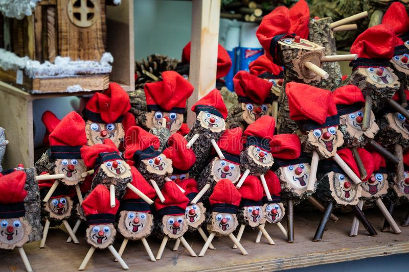 Handmade tio de nadal, a typical christmas character of catalonia, spain, on sale in a christmas market royalty free stock photos