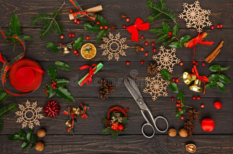 Download Handmade Tools For Making Christmas Gift Top View Stock Image