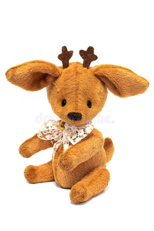 Handmade toy deer isolated on white background stock photography
