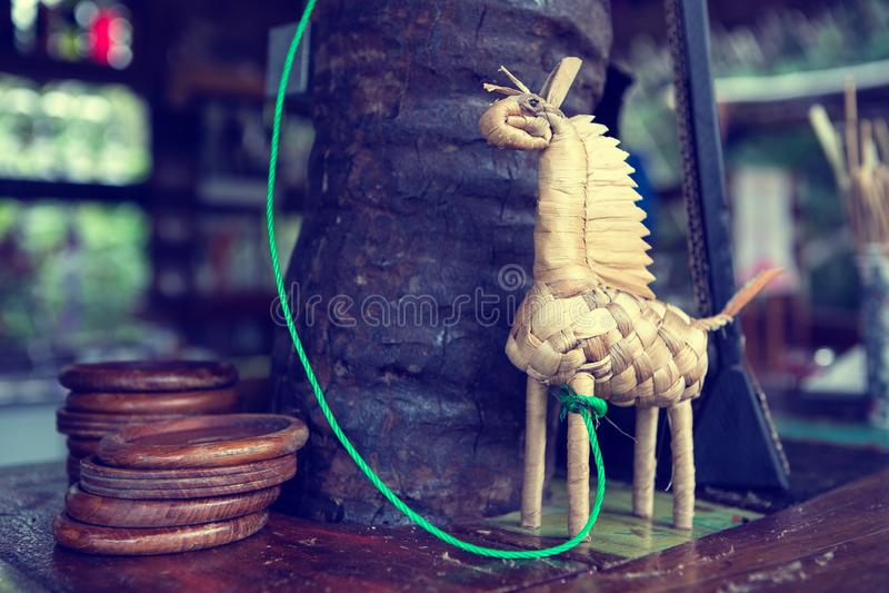 Handmade toy horse made of straw decoration bar stock photo