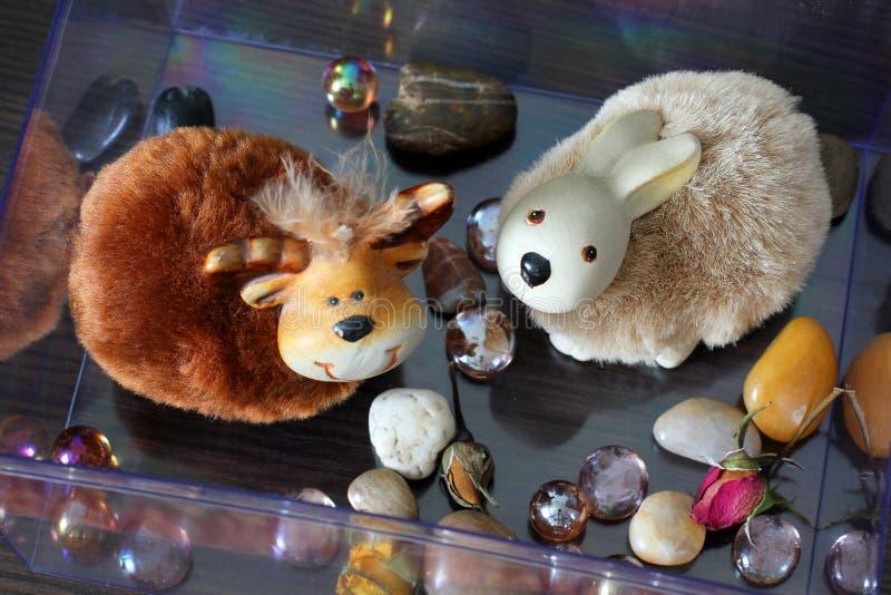 Handmade toys. Scenery in the house stock photos