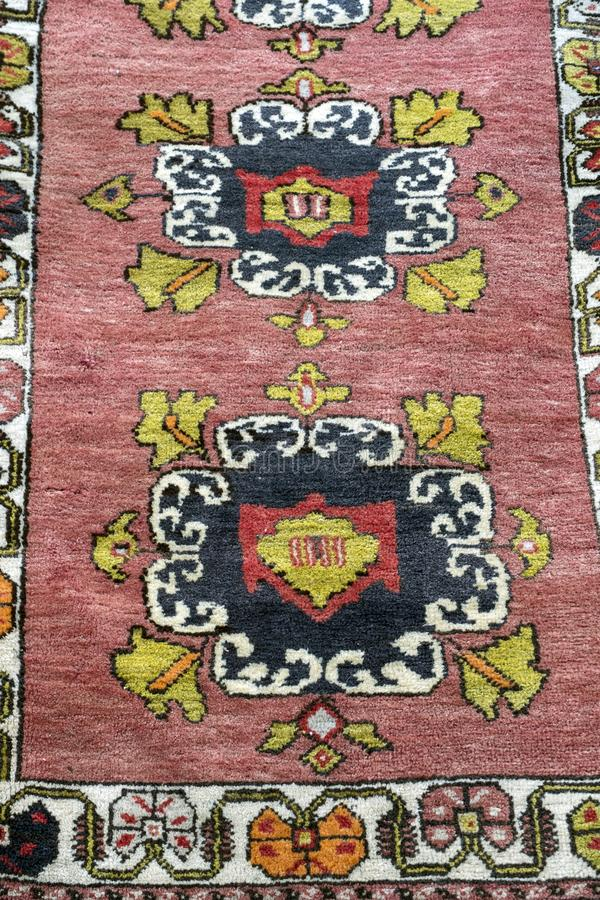 Handmade Turkish Carpet. A beautiful and colored Traditional handmade Turkish Carpet royalty free stock photography