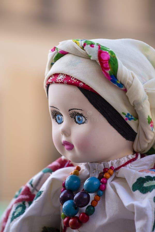 Handmade ukrainian doll ancient culture folk crafts tradition of Ukraine. Close up royalty free stock photo
