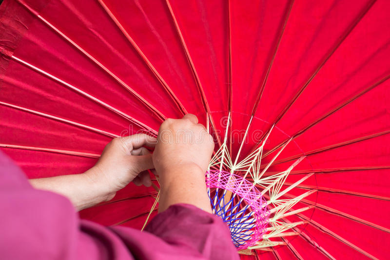 Handmade umbrella making process royalty free stock photos