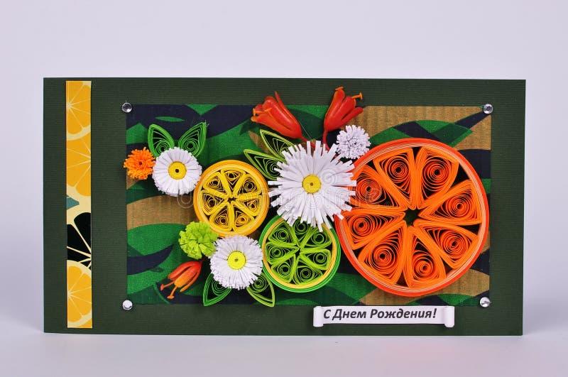Handmade urodzinowa karta z kwiatami zdjęcia stock