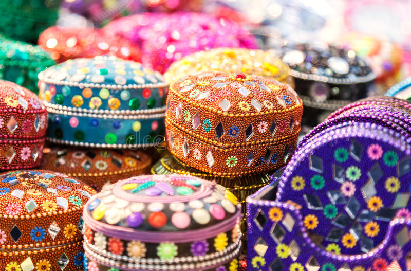 Handmade. Various different colorful casket in the Indian marke stock photo