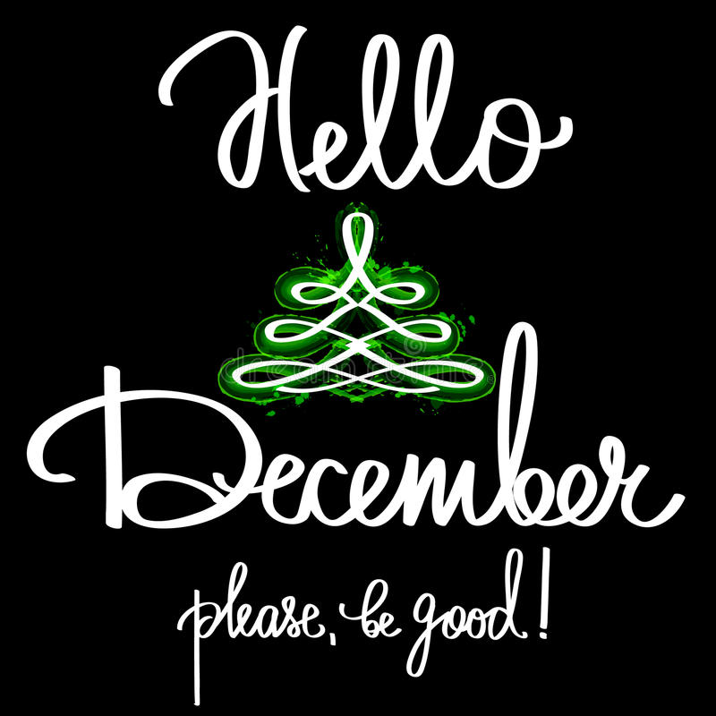 Handmade vector calligraphy and text hello december stock