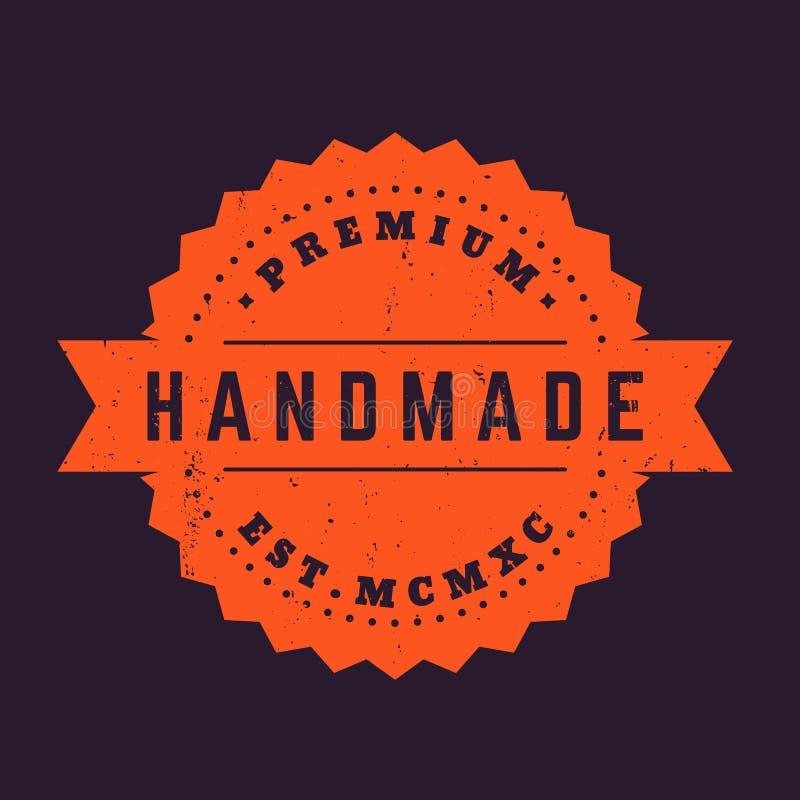 Handmade vintage badge, vector stamp royalty free illustration