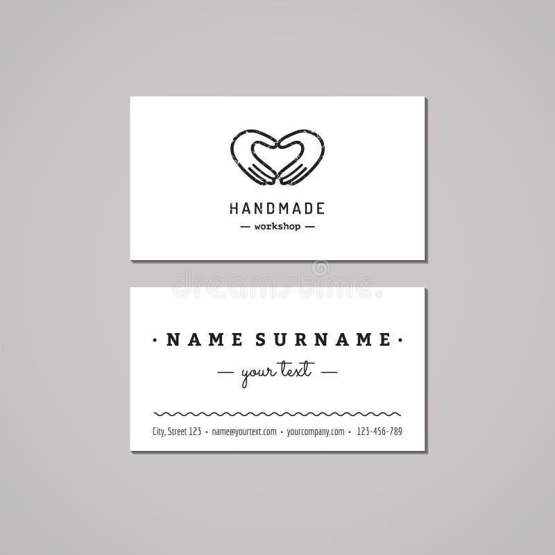 Handmade warsztatowy wizytówka projekta pojęcie Handmade warsztatowy logo z rękami robi sercu Rocznik, modniś i retro styl, ilustracji
