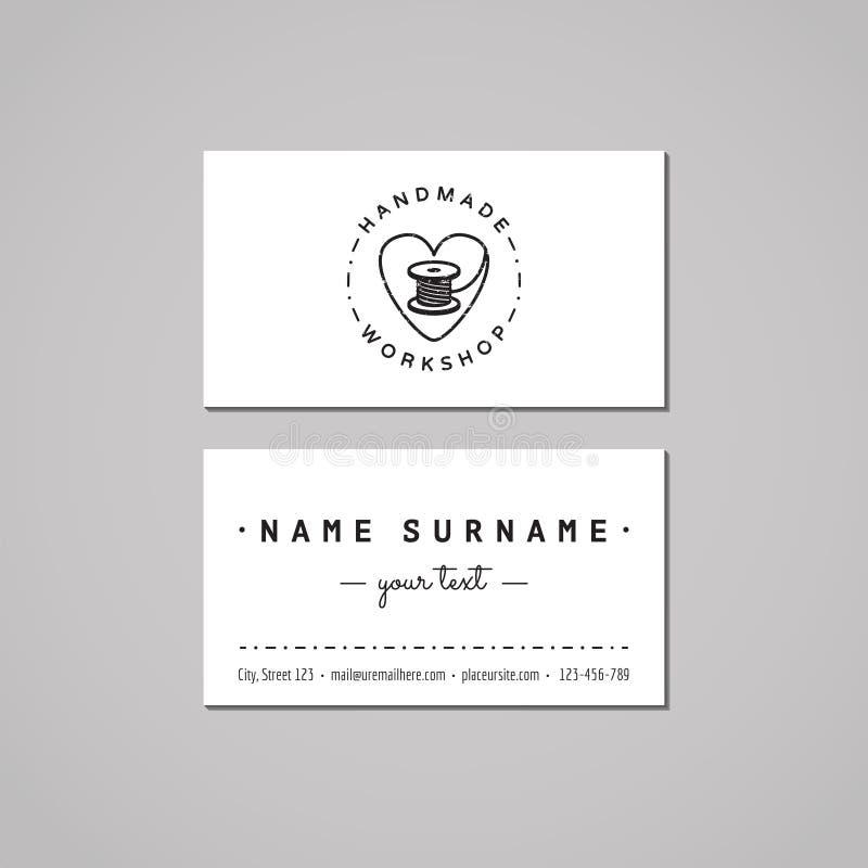 Handmade warsztatowy wizytówka projekta pojęcie Handmade warsztatowy logo z sercem i nicianą cewą Rocznika i modnisia styl ilustracji