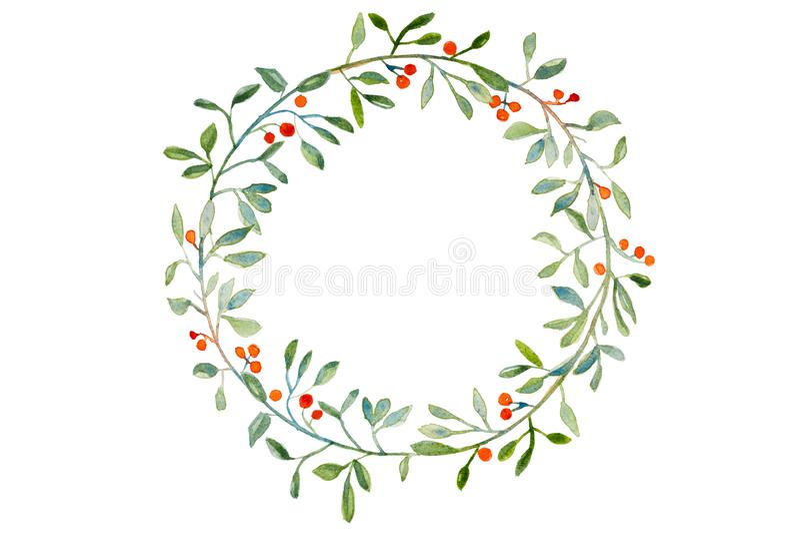 Handmade watercolor Christmas wreath stock photo