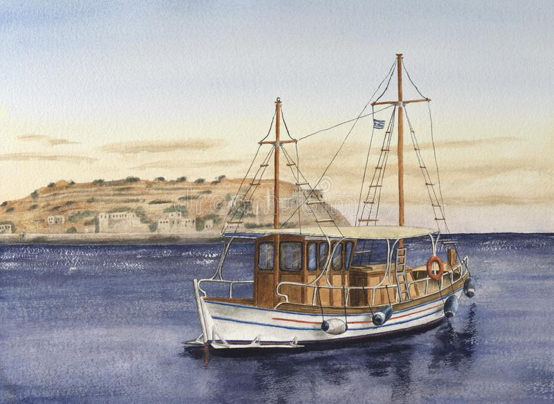 Handmade watercolor drawing of touristic boat royalty free stock images