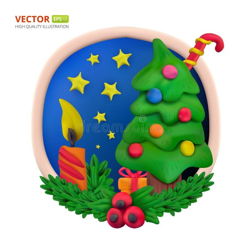 Handmade wektorowy modelarskiej gliny round kartka z pozdrowieniami dla Bożenarodzeniowego i Szczęśliwego nowego roku ilustracji