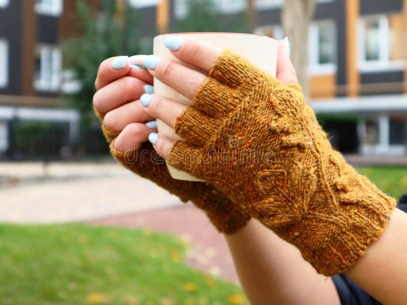 Handmade womens wool fingerless gloves. Autumn sketch royalty free stock photos
