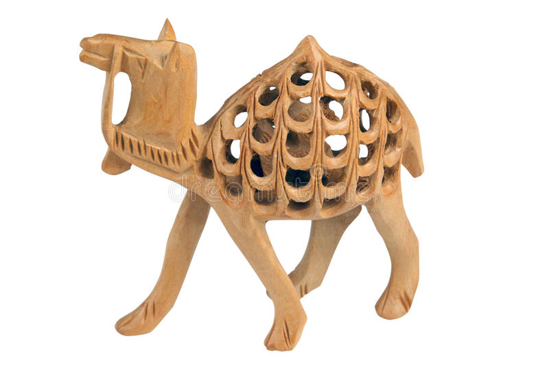 Handmade wooden camel royalty free stock images