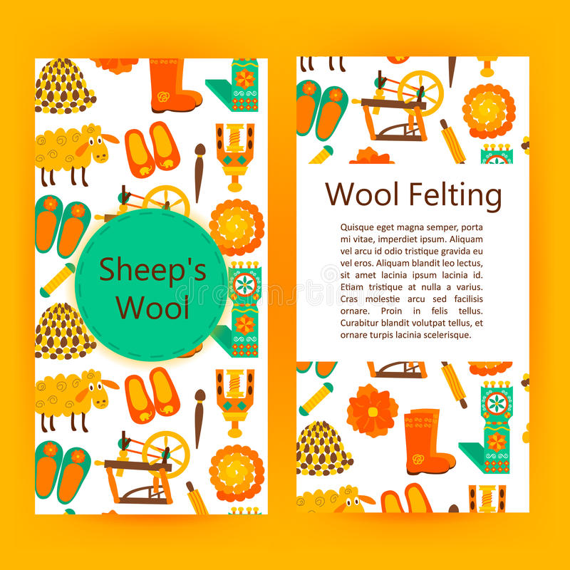 Handmade Wool Products Brochure Template Stock Vector Illustration